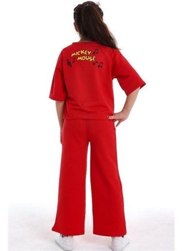 Riccotarz Kız Çocuk Boncuk Detaylı Mickey Mouse Alt Üst Takım Kırmızı